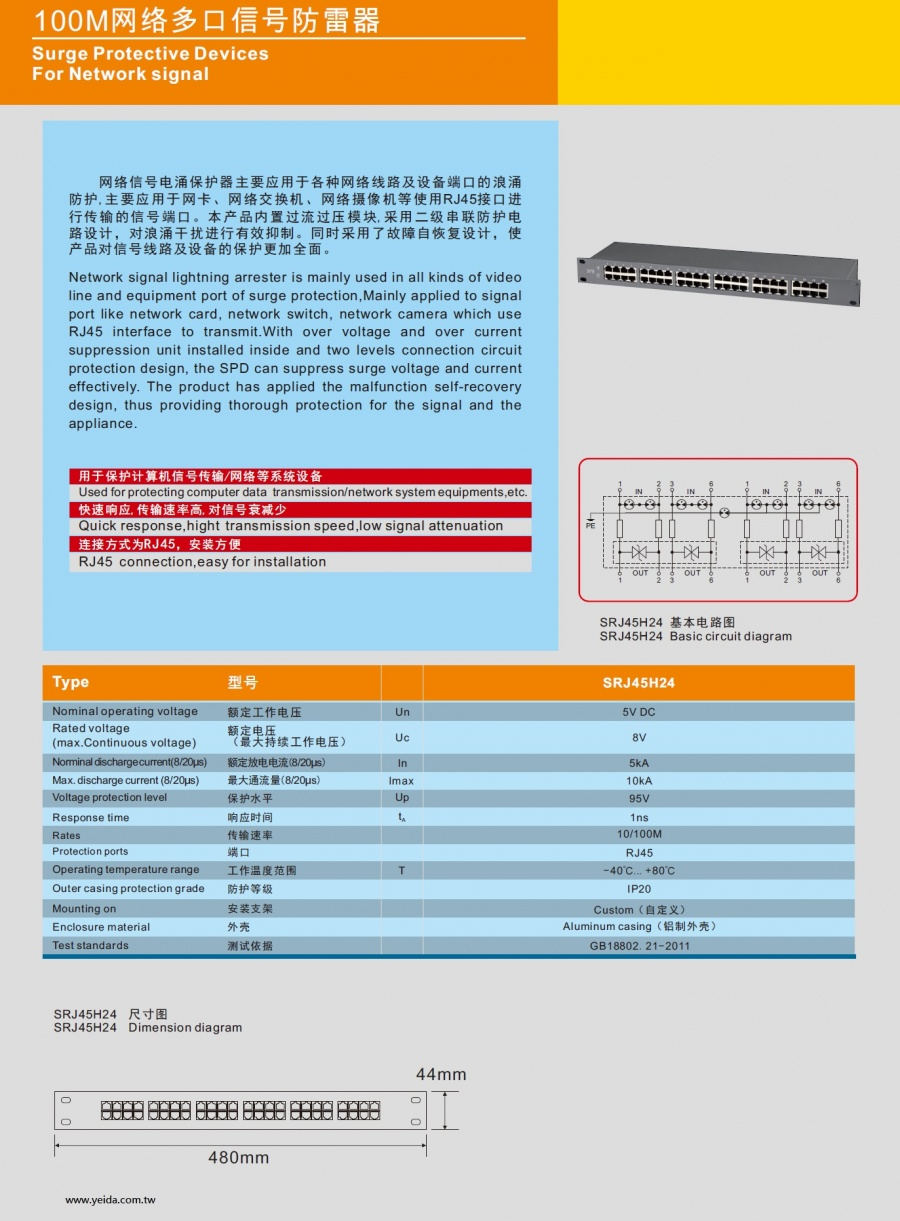 SRJ45H24 Surge Protective Devices For Network signal 100M网络多口信号防雷器