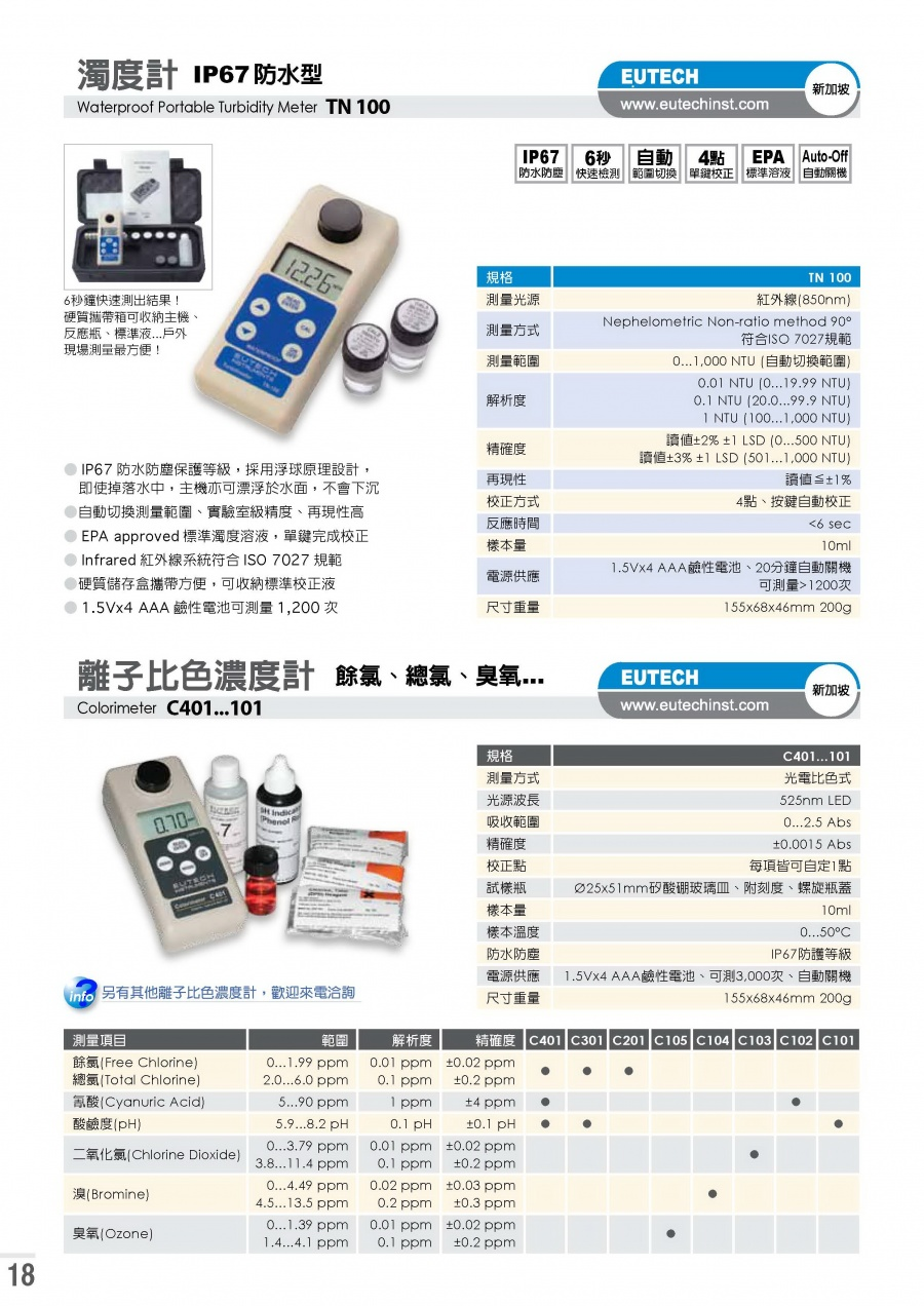 EUTECH-C 401 Colorimeters C401, C301, C201, C105, C104, C103, C102 and C101 離子比色濃度計產品圖