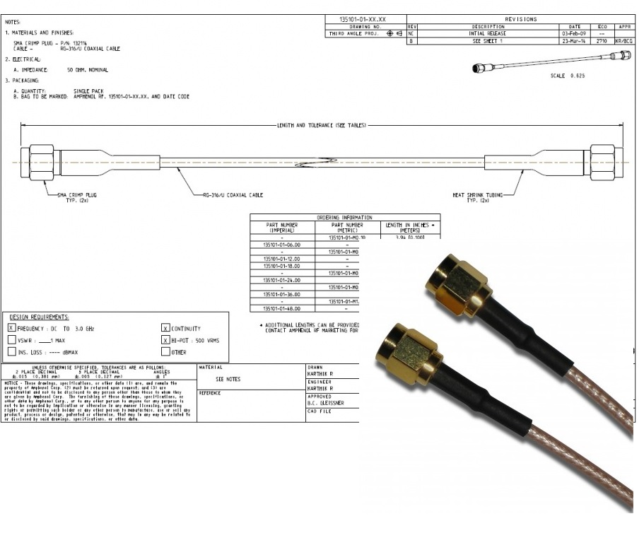 SMA Straight Plug to SMA Straight Plug on RG-316 cable, 12 inches SMA直插頭對SMA直插頭對RG-316電纜,12英寸產品圖