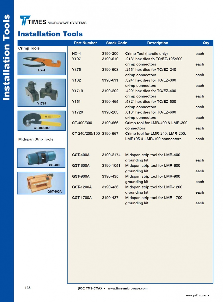 TIMES-LMR Install Tools ( Crimp Tools, Midspan Strip Tools 低損耗同軸電纜製作工具)產品圖