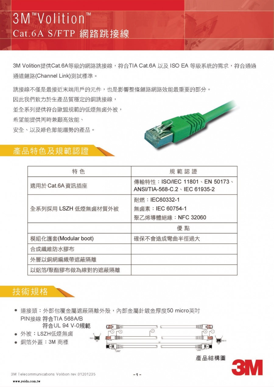 3M Volition RJ45 Category 6A patch cords CAT-6A 網路跳接線產品圖