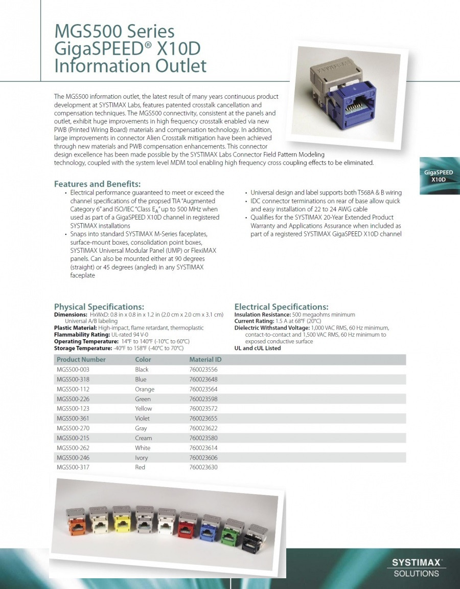 Commscope-MGS500 Series GigaSPEED® X10D Information Outlet CAT-6A 網路配線資訊插座產品圖