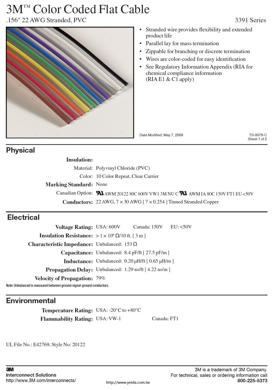 3M™3391 Series Color Coded Flat Cable, .156