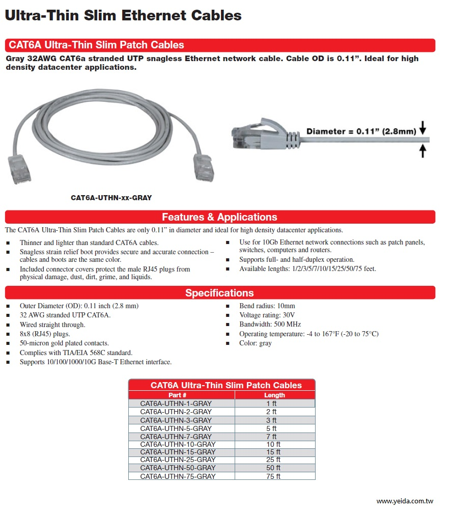 CAT6A Ultra-Thin Slim Patch Cables Gray 32AWG CAT6a stranded UTP snagless Ethernet network cable Cat6A 極細電腦網路跳線產品圖