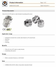 LAPP-SKINDICHT® ZS-M  Hexagonal converter from a metric outer thread to a PG inner thread 工業級連接器產品圖