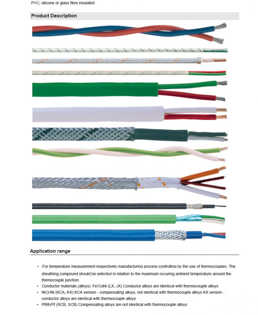 LAPP-Extension- and compensating cables, paired  工業級對型補償導線延長連接線 PVC, silicone or glass fibre insulated產品圖