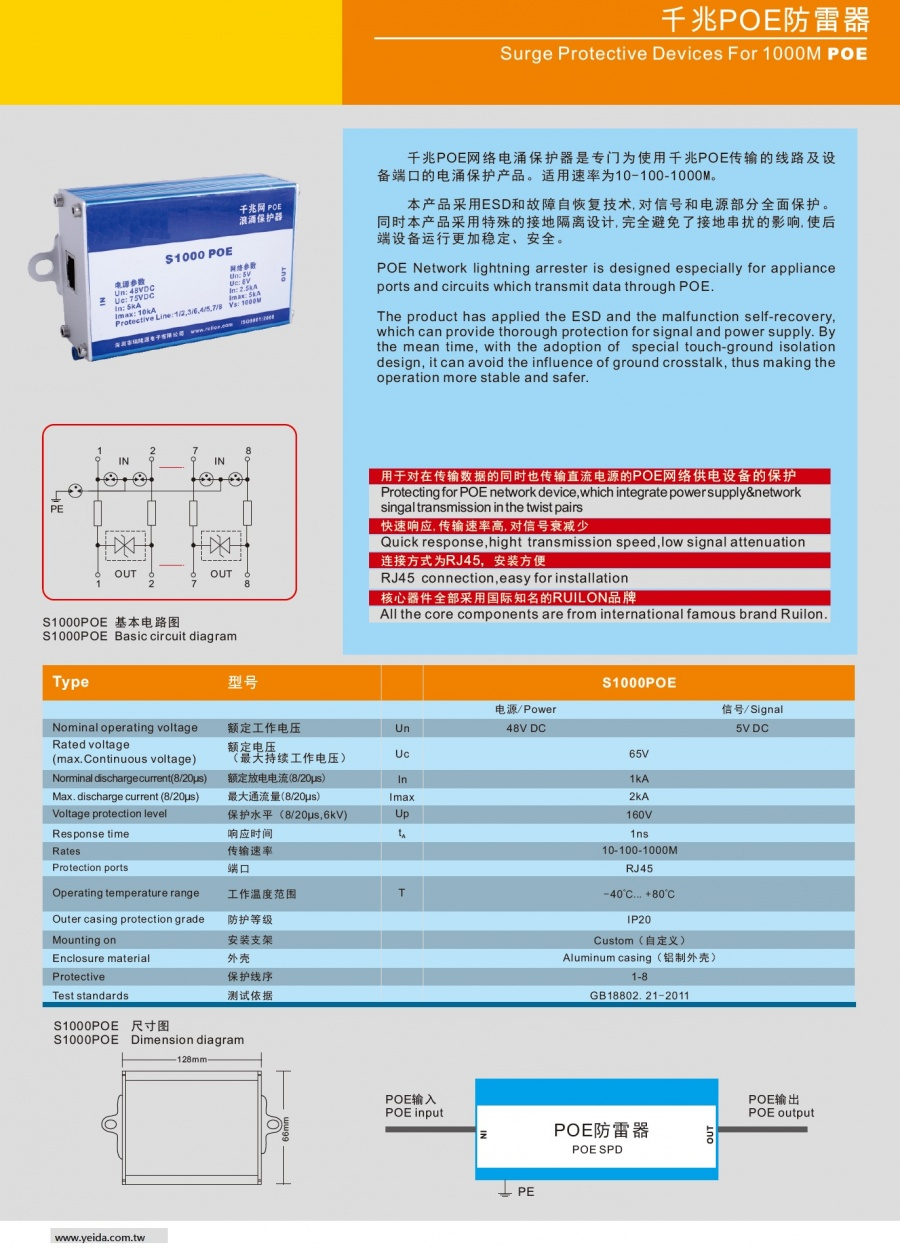 S1000POE Surge Protective Devices For 1000M POE 外置式千兆POE防雷器產品圖