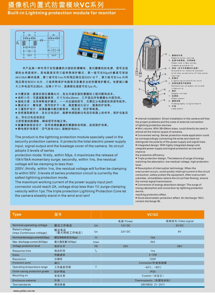 VC12C Built-in Lightning protection module for monitor 攝影機内置式防雷模塊VC系列產品圖