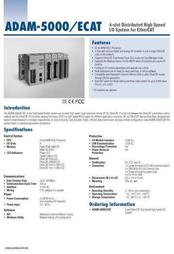 ADAM-5000/ECAT 4-slot Distributed High Speed I/O System for EtherCAT 分散式控制解決產品圖