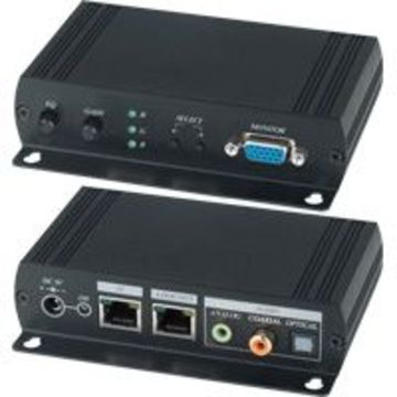 VE02DALS VGA長距離視音頻雙絞線接收器(內置RGB偏移調整) VGA & Stereo/Digital Audio CAT5 Receiver, Bulitin Skew Corrector.產品圖
