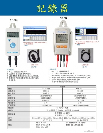 R2-102 DC Voltage and Current Data Logger 直流電壓電流記錄器產品圖