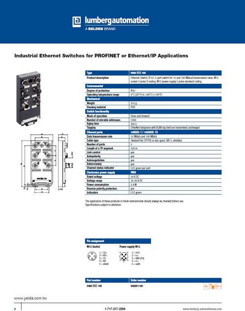 BELDEN, Lumberg-0982 EEC 100 EtherMate® Industrial Ethernet - Switches, EtherMate工業以太網 -交換機產品圖