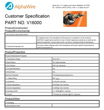 ALPHA-V16000 Awg 1/0 x 3C 600V Double Copper Tape Shielding VFD V 系列變頻驅動器電纜產品圖