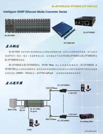 TEWAY-SL-EC100G Intel igent SNMP Ethernet Media Converter Series具網管功能乙太網路光電轉換設備產品圖