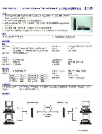VAD-002G series 2-port Giga Ethernet Switch/Fiber Converter 10/100/1000Base T to 1000Base F 乙太網路光電轉換器組產品圖